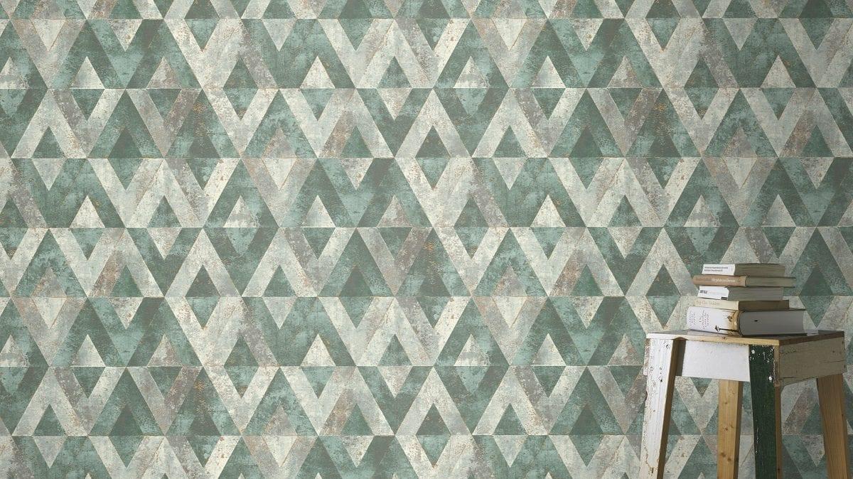 Papel mural piedra verde YUCATAN 535501 Rasch