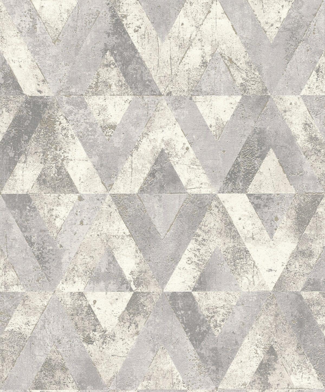 Papel mural piedra geométrica gris YUCATAN 535518 Rasch