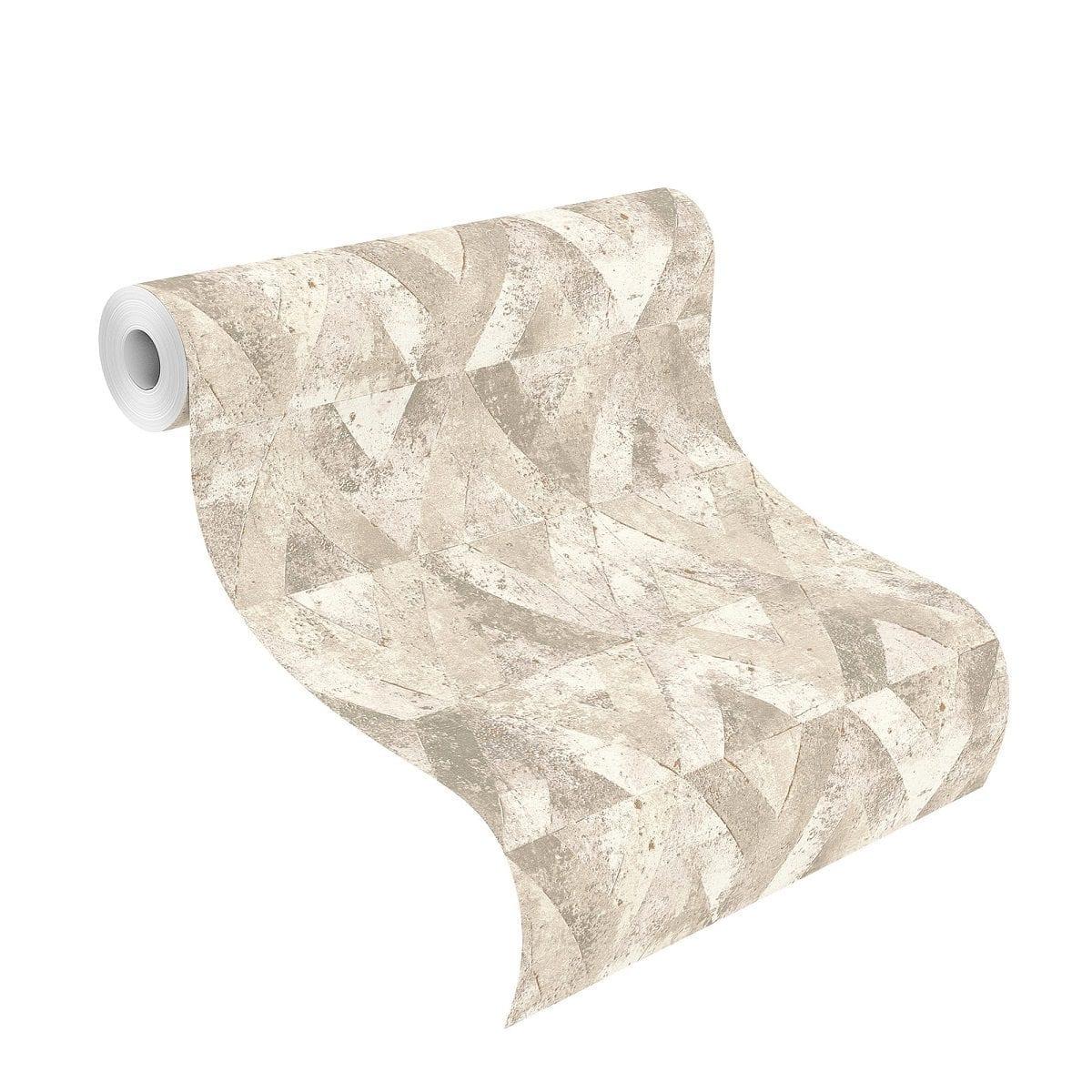 Papel mural piedra geometrica beige YUCATAN 535525 Rasch