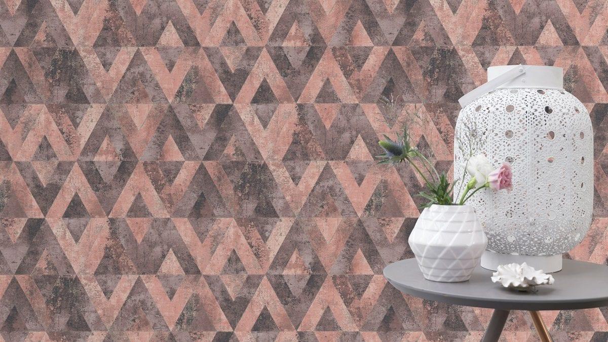 Papel mural piedra geométrica rosa y gris YUCATAN 535532 Rasch