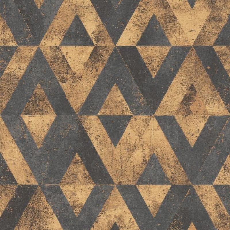 Papel mural piedra geométrico negro y cobre YUCATAN 535556 Rasch