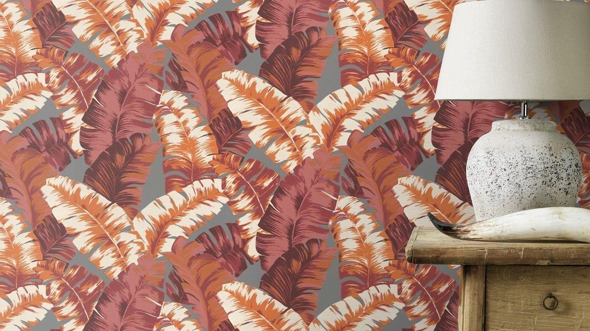 Papel mural Hojas tropical rosa YUCATAN 535624 Rasch