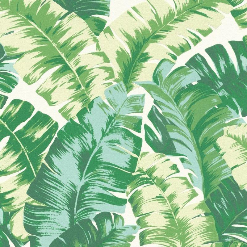 Papel mural Hojas tropicales verde YUCATAN 535648 Rasch