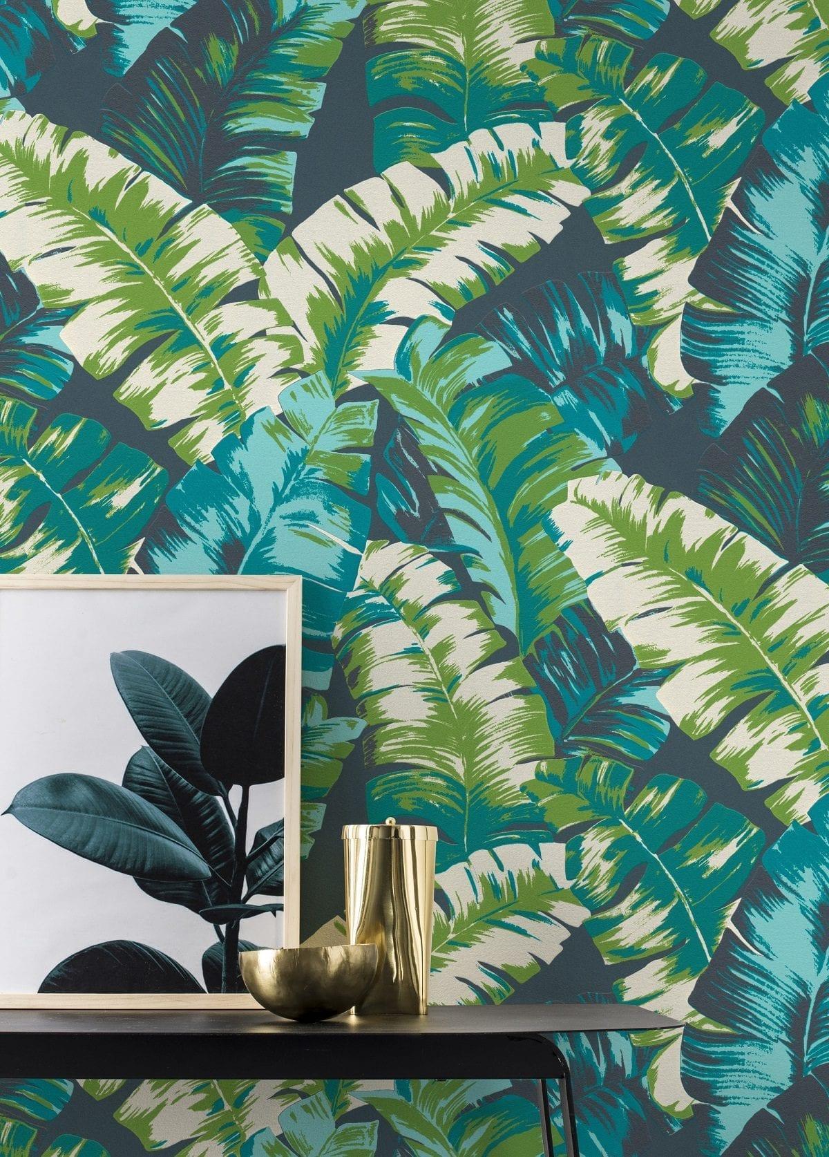 Papel mural hojas tropicales verde YUCATAN 535655 Rasch