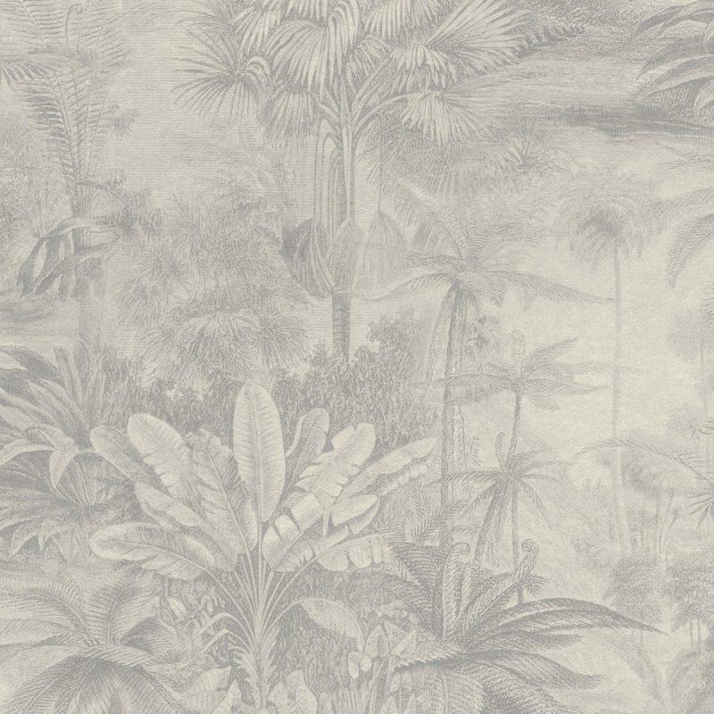 Papel mural paisaje bosques tropicales gris KERALA 551136 RASCH
