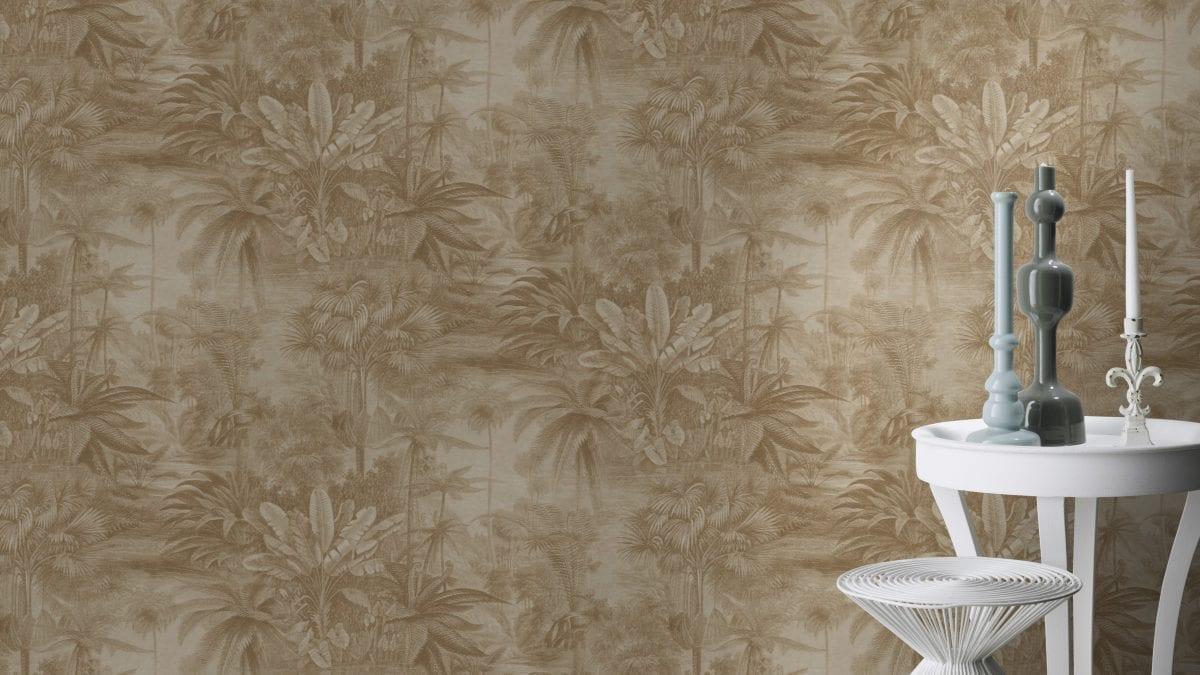 Papel mural paisaje bosques tropicales dorado KERALA 551167 RASCH