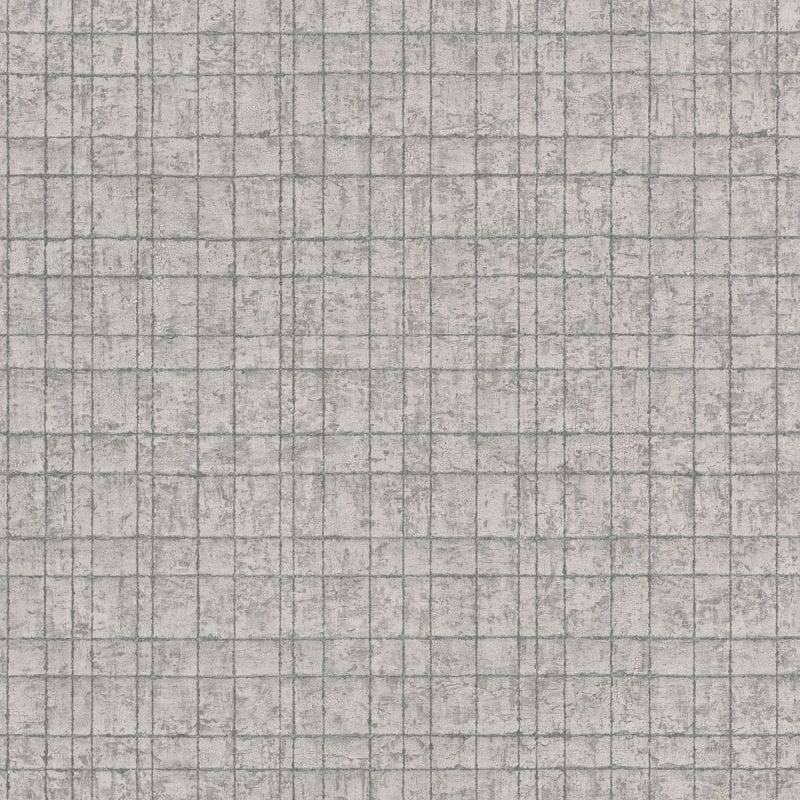 Papel mural geométrico gris y plateado KERALA 551327 RASCH