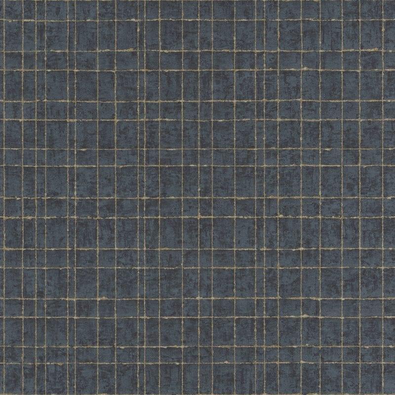 Papel mural azul diseño geométrico oscuro y dorado KERALA 551365 RASCH