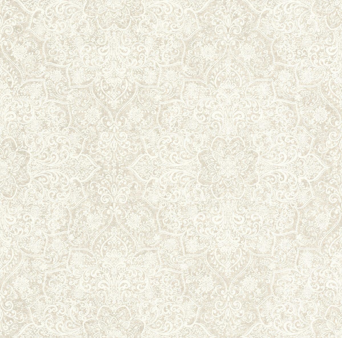 Papel mural diseño mandala mehndi blanco KERALA 551594 RASCH